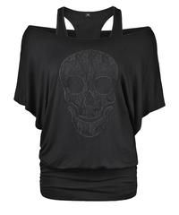 Batwing Sleeve Skull Pattern Top