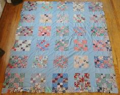 Vintage Feedsacks and Country Blue Nine Patch Quilt Top | eBay
