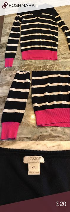 J. Crew V-Neck Sweater Blue and white striped J. Crew sweater with pink accents on sleeves and bottom. Lightweight and in good condition. Could fit size XS or S. J. Crew Sweaters V-Necks