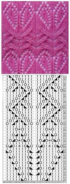 Hearts to Zig Zags Lace Knitting Stitch. Hearts to Zig Zags Lace Knitting Stitch. Lace Knitting Stitches, Lace Knitting Patterns, Knitting Charts, Lace Patterns, Loom Knitting, Hand Knitting, Stitch Patterns, Lace Scarf, Scarf Knit