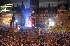 Crowds at the Christmas lights switch on ceremony and concert, Albert Square, Manchester, United Kingdom, November 2011. (I was there!)