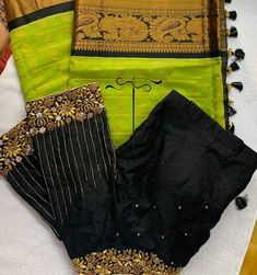 Black Blouse Designs, Half Saree Designs, Silk Saree Blouse Designs, Bridal Blouse Designs, Mirror Work Blouse Design, Simple Embroidery Designs, Maggam Work Designs, Designer Blouse Patterns, Sarees