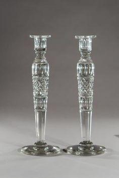 Elise Abrams Antiques - Steuben monumental clear cut crystal candlesticks
