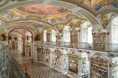 Admont Abbey Library, Styria, Austria - the world's largest monastic library, founded in 1074 by archbishop Gebhard of Salzburg. Admont Monastery has collected and preserved cultural goods since its start. The library has a special position, as one of Austria's most important cultural properties and one of Europe's largest late Baroque works of art.