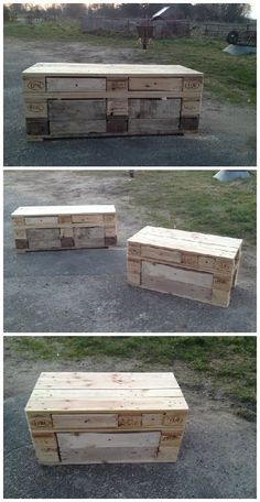 Pallet Benches With Storage Drawers #Drawers, #PalletBench, #RecycledPallet