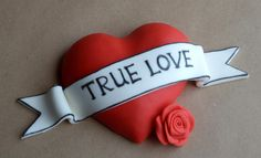 Valentine Red Heart With Banner Cake Topper - Read Heart Tattoo Style Message Cake Decor by allsugarheart on Etsy