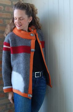 Upcycled clothing Monks Cardi womens sweater size by FoundryDesign