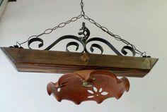 Lampadario rustico in ferro battuto con coppette in vetro mod ...