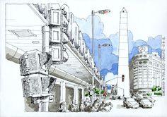 Urban Sketchers Buenos Aires: Obelisco