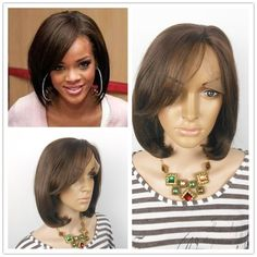 88.00$  Watch now - http://alii09.worldwells.pw/go.php?t=2021216230 - 2017 Direct Selling Dark Brown Small Promotion Wavy Lace Front Short Human Hair Wigs Sex Products 100%human 16inch Freeshipping
