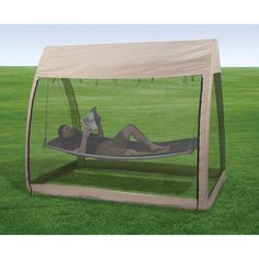 enjoy the outdoors without the pests! Hammock with Canopy and Bug Screen Hammock With Canopy, Backyard Hammock, Backyard Retreat, Hammock Stand, Hammock Ideas, Outdoor Life, Outdoor Fun, Outdoor Camping, Outdoor Gardens