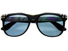 Leaf Print Gold Metal Arms Womens Mens Flat Top Sunglasses Glossy Black