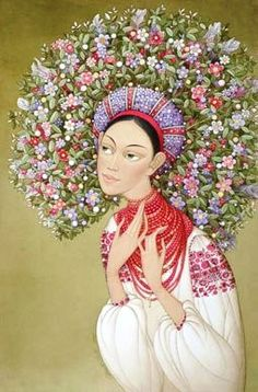 Иван Процив Contemporary Decorative Art, Flower Head Wreaths, Student Picture, Ukrainian Art, Russian Folk, Naive Art, Girl Cartoon, Beautiful Artwork, Thing 1