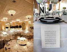 Black and White Wedding Reception tables