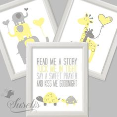 Set of 3 Read me a story Tuck Me in Tight Yellow Gray by Suselis