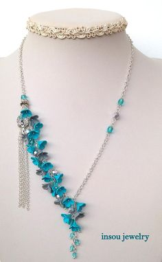 Turquoise jewelry  Necklace earrings set  Turquoise silver