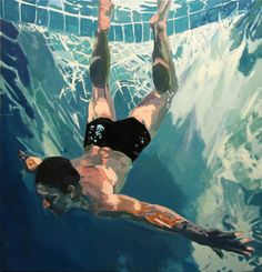 Underwater Swimmer Oil Paintings - modern - artwork - new york - by Samantha French Art Art Picasso, Underwater Painting, Underwater Fish, Kunst Online, Arte Pop, Affordable Art, French Art, French Open, Rembrandt