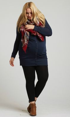This plus size maternity cardigan will be sure to keep you warm this winter season with long sleeves and a button up front. Front pockets will be sure to keep your hands warm, while a soft material makes this cardigan a comfy go-to piece. Layer over any basic top and pair with maternity leggings and boots for a flawless finish.  Perfect for women's and maternity.