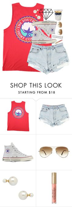"""shorty short give me life"" by lydia-hh ❤ liked on Polyvore featuring Converse, Ray-Ban and Blu Bijoux"
