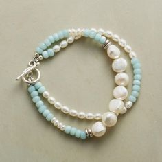 SERENITY PEARL BRACELET -- Hushed blue amazonites carry on calmly with a mix of cultured nugget, rice and button pearls in our Serenity Pearl Bracelet. Sterling silver disks