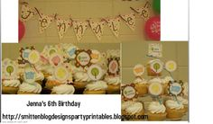 free party printables  cupcake toppers  banners  hippie chick theme    http://smittenblogdesignspartyprintables.blogspot.com/