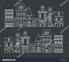 Ideen rund ums Haus vector illustration of europe and american houses by Vector pro, via ShutterStoc Christmas Doodles, Christmas Mood, Christmas Crafts, Christmas Window Decorations, Christmas Window Display, Christmas Chalkboard Art, American Houses, Navidad Diy, Theme Noel
