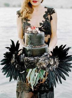 Black Swan Inspired Bridal Shoot By Mint Design and Mariel Hannah Photography #cakes #weddingcake #weddinginspiration #styledshoot #weddingstyling