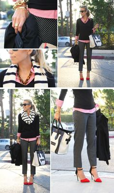 black/print skinny crops pants, colored button down blouse, v-neck sweater, chunky scarf