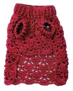 tejidos artesanales en crochet: vestido calado en crochet para tu perrita