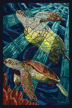 Calabash, North Carolina - Sunset Beach - Sea Turtle Paper Mosaic - Lantern Press Artwork (Art Print Available) Paper Mosaic, Mosaic Art, Mosaic Glass, Fused Glass, Stained Glass Patterns, Stained Glass Art, Mosaic Portrait, Mosaic Animals, Diy Décoration