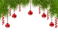 Christmas Pine Decor with Red Ornaments PNG Clip Art Image