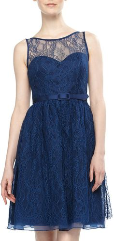 Theia Lace Belted Cocktail Dress, Anchor Blue