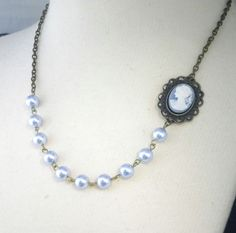 STUNNING Blue Cameo Necklace