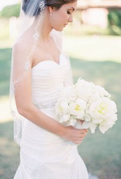 White Peony Wedding Bouquet -  An Oversized White Peony Wedding Bouquet |