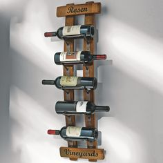 Personalized Reclaimed Barrel Stave Wall Rack - made from used wine barrels. Choose your own text for top and bottom.