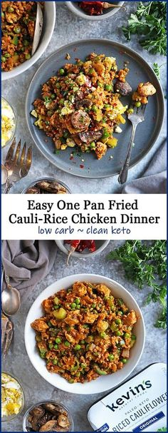 #ad In this One Pan Fried Cauliflower Rice Chicken Dinner, riced cauliflower is pan fried with chicken, greens, fresh onions, garlic, & ginger, and a plethora of spices. Served with scrambled eggs and sauteed mushrooms, this is a nutritious and tasty keto / low carb dish you are so to enjoy. There are so many reasons why I love shopping at Sprouts. They have such a wonderful array of new products, supplements, and produce. And now they also have clear tags that help me find keto items througho Pan Fried Cauliflower, Cauliflower Recipes, Riced Cauliflower, Paleo Dinner, Dinner Recipes, Top Recipes, Healthy Recipes, Easy Chicken Recipes, Tasty Dishes