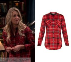 "The Big Bang Theory: Season 10 Episode 20 Penny's Red Plaid Shirt | Penny Hofstadter (Kaley Cuoco) wears this red plaid shirt with leather trim in this episode of The Big Bang Theory, ""The Recollection Dissipation"".  It is the Vince Leather-trim Plaid Shirt in Red."
