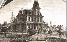 Anthony M Cannon home, Spokane, WA.     The house was built about 1883, between Cedar & Walnut, 2nd & 3rd streets, Spokan Falls, WA.  Illustration from Spokane Falls Illustrated, 1889, Minneapolis, Frank L. Thresher