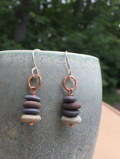 Stacked Stone Hoop Earrings Sterling by creativeoutlookglass