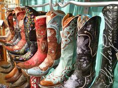 Mousepad colorful Cowboy boots / turquoise boots by StudioGauthier, $17.00