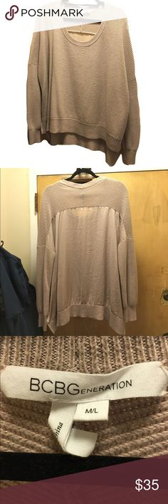 BCBGeneration Oversize Knit Sweater Cream sweater by BCBGeneration. High low effect. Knit on front and sleeves, silk-like material on back. Flowy and cozy! BCBGeneration Sweaters