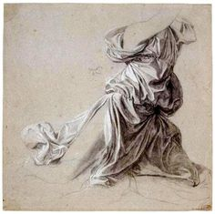 """Jean-Auguste-Dominique Ingres    Drapery, Study for """"The Vow of Louis XIII"""""""