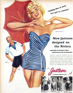 """Nothing does as much for a girl as a Jantzen swimsuit"" 1953 Mode Vintage, Vintage Girls, Vintage Ads, Vintage Outfits, 1950s Fashion, Vintage Fashion, Retro Bathing Suits, Vintage Swimsuits, Valentino"