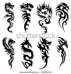 Tribal Tattoo Snake Dragon Set Design Template