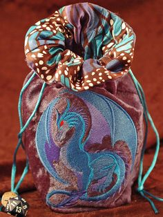 Large Blue Dragon Dice Bag with Lining by JaneSearsFalconer