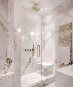 White and gray bathroom - # white - Badgestaltung ideen - Badezimmer Bathroom Design Luxury, Luxury Interior Design, Modern Luxury Bathroom, Modern Shower, Apartment Bathroom Design, Luxury Kitchen Design, Simple Interior, Luxury Home Decor, Dream Bathrooms