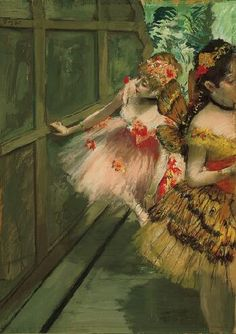 "Dancers in the Wings / Edgar Degas / c. 1876-78 / pastel, gouache, distemper and ""essence"" on paper, mounted to board"