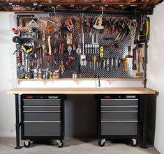 Diamond plate peg board - garage work bench