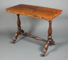 """Lot 1199, A Victorian rectangular rosewood stretcher table raised on a turned column with H framed stretcher 28""""h x 36""""w x 18""""d, est  £100-150"""