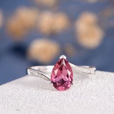 Pear Shape Pink Tourmaline Half Eternity Engagement Ring in Sterling Silver, Pink Tourmaline Ring, T Unique Diamond Rings, Diamond Wedding Rings, Bridal Rings, Unique Rings, Solitaire Rings, Bridal Jewelry, Wedding Bands, Pear Ring, Emerald Green Earrings